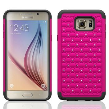 Galaxy Note 5 Case, Crystal Rhinestone Studded Hybrid Dual Layer Shock Absorbent Case for Samsung Galaxy Note 5 - Hot Pink/Black