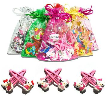 Novelty 1pair Hello Kitty baby Girls' Hair clips Hairgrips Soft Fabric Girls Headwear Hair Accessories for Women