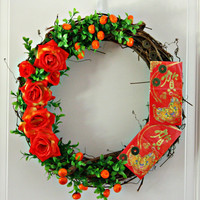 Autumn Harvest Chinese New Year Celebration Wreath by Mei Faith