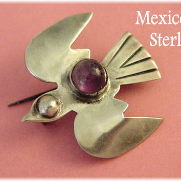 William Spratling Era ~ RARE 1930s MEXICO Sterling Silver ~ Amethyst Flying Eagle Brooch ~ Las Vegas Estate Treasure - FREE Shipping