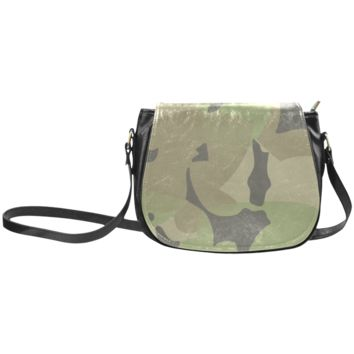 Women Shoulder Bag Brown Black Green Camo Classic Saddle Bag Large