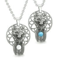 Wolf Dreamcatcher Love Couple Moon Energy Simulated Turquoise White Cats Eye Pendant Necklaces