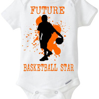 "New Baby Gift: ""Future Basketball Star"" Infant Shirt! Sports / Sporty Baby Boy! Embellished Gerber Onesuit brand body suit - Orange"