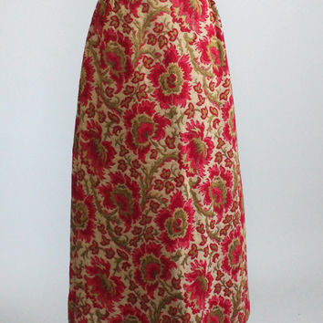 Vintage 1970s Floral Tapestry Maxi Skirt