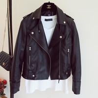 Leather Jacket Women's New Year Design PU Leather Jacket Soft Leather Coat Slim Lapel Motorcycle Jacket Black