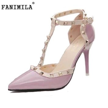 Hot Women Pumps Ladies Sexy Pointed Toe High Heels Fashion Buckle Studded Stiletto Hig
