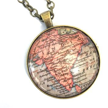 India Vintage Map Large Pendant