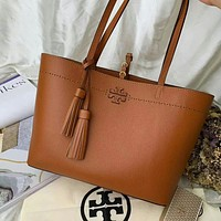 TB TORY BURCH WOMEN'S LEATHER HANDBAG TOTE BAG