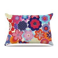 "Louise Machado ""Patchwork Flowers"" Pillow Case - Outlet Item"