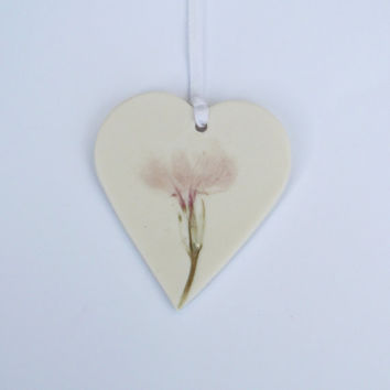 Heart Hanging Decoration Gift with Purple Flower - Easter