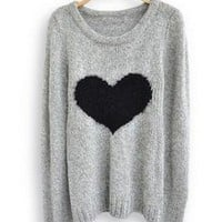 Heart Round Neck Long Sleeve Sweater for Women