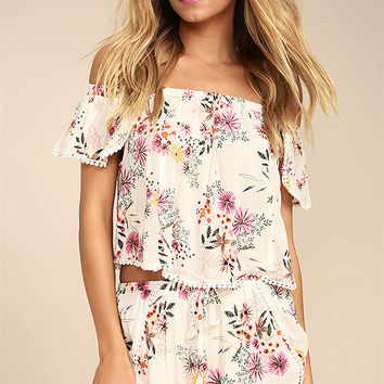 Flowing in the Wind White Floral Print Shorts