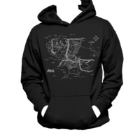 Middle Earth Map Unisex Hanes Hooded Sweatshirt , Tolkien LOTR Hoodie