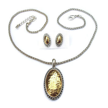 ROMAN Signed RMN Hammered Gold and Silver Oval Pendant Necklace and Post Earrings for Pierced Ears - Gold Tone Silver Tone Medallion