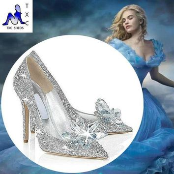 DCK7YE 2016 Cinderella glass slipper with money pointed high-heeled leather fine with rhinest