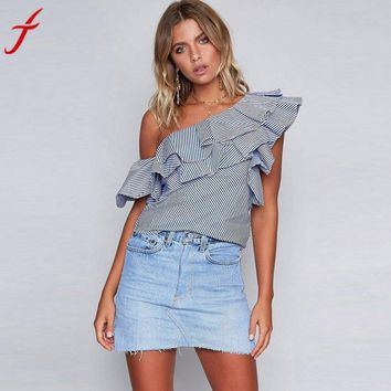 Fashion Ruffles One Shoulder Blouse Summer Off Shoulder Casual Loose Tops Women blouses shirt party tube top