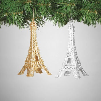 Set of 2 Gold and Silver Sparkling Eiffel Tower Ornaments - 6-in