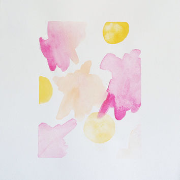 Abstract spring watercolor : pink and yellow geometric shapes