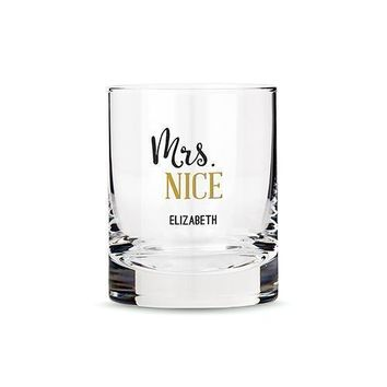 Personalized Whiskey Glasses with Mrs. Nice Print (Pack of 1)