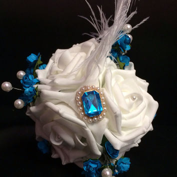 White & Turquoise Rose Feather Toss bouquet, flowergirl bouquet, small bouquet, throw bouquet, brooch bouquet