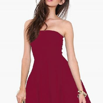 Fashion Strapless Off Shoulder Solid Color Dress - NOVASHE.com