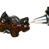Clay and Metal Black Scottie Dog Push Pins Set of 10