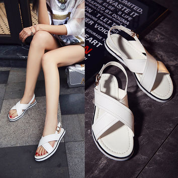 Stylish Design Summer Flat Leather Casual Shoes Sandals [4920639812]