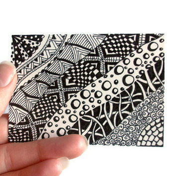 Original ACEO Zentangle Inspired Black and White Ink Drawing by JoArtyJo