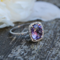 26ct Cushion Plum color change sapphire 14k white by EidelPrecious