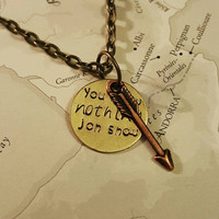 You know nothing Jon Snow Game of Thrones Necklace - Game of Thrones Jewlery