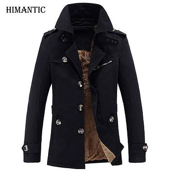 Men's Winter Trench Coat Men Casual Thick velvet Jacket Men Overcoat Cotton Jacket Windbreaker hombre Long Trench Coat