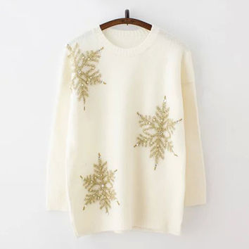 White Snowflake Sequin Long Sleeve Sweater