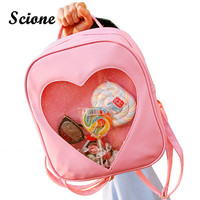 Summer Candy Clear Heart Shaped Backpacks Harajuku School Backpack Women Leather Double Shoulder Bags Teenage Book Bags JXY588