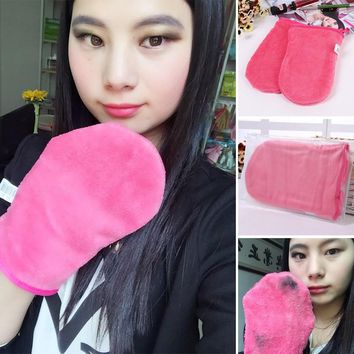 1 Pcs Makeup Remover Glove Cosmetic Removal Microfiber Rose Red Mitt Upgraded Version Of Makeup Remover Towel