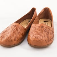 Mexican Huarache Sandals - Women's Tooled Style Brown