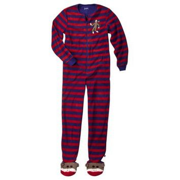 Nick & Nora® Women's Sock Monkey Stripe Footie Pajama - Blue/Red