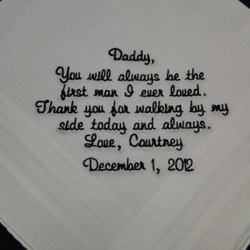 Personalized Father of the Bride from Bride embroidered wedding men's handkerchief thank you present free gift box