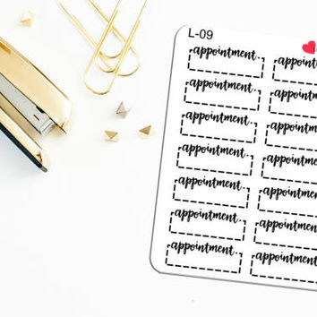 Appointment Labels | Quarter Box Stickers, Appointment Reminder, Doctors Appointment, Appt Label - Hand Lettered Functional Planner Stickers