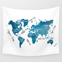 World Map blue Wall Tapestry by Jbjart | Society6