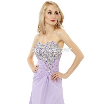 Purple Chiffon Sweetheart Front Slit Prom Dresses Long Prom Dresses Floor Length