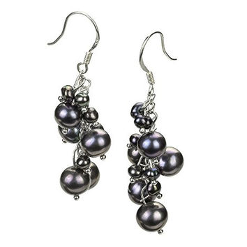 Brisa Black 3-7mm A Quality Freshwater Alloy Pearl Earring Set