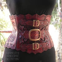 SAMPLE SALE One of a Kind Hand Tooled Hard Leather Corset Cincher - Absolute Devotion
