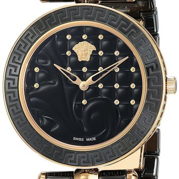 Versace Women's 'Vanitas' Swiss Quartz Stainless Steel and Ceramic Casual Watch, Color:Black (Model: VAO040016)