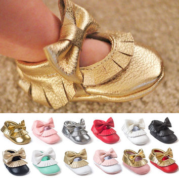 New Tassel Bowknot Baby Shoes Handmade Baby Girls First Walkers Fashion Shoes baby moccasins