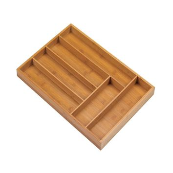 Bamboo 6-Place Cutlery Tray Drawer Organizer