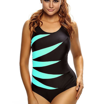 Cyan Splicing Color Block Black Monokini