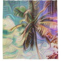 Abstract Rainbow Palm Shower Curtain