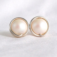 Mother of Pearl Silver Stud Earrings, White Pearl Wire Wrapped Jewelry Handmade