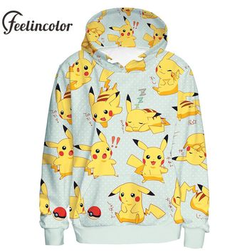 Feelincolor Pokemon Hoodies Men 3D Printed  Pikachu Hoodie Kawaii Sweatshirt Pullover Cosplay Unisex Moletom Streetwear Hooded