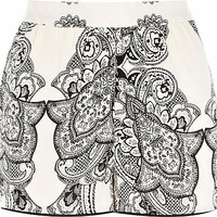 Black and white paisley print pyjama shorts